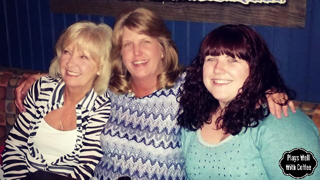 Aunt Susie, Mom, and I on Mom's Birthday